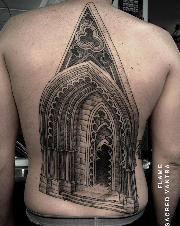 Architecture Tattoo on Back