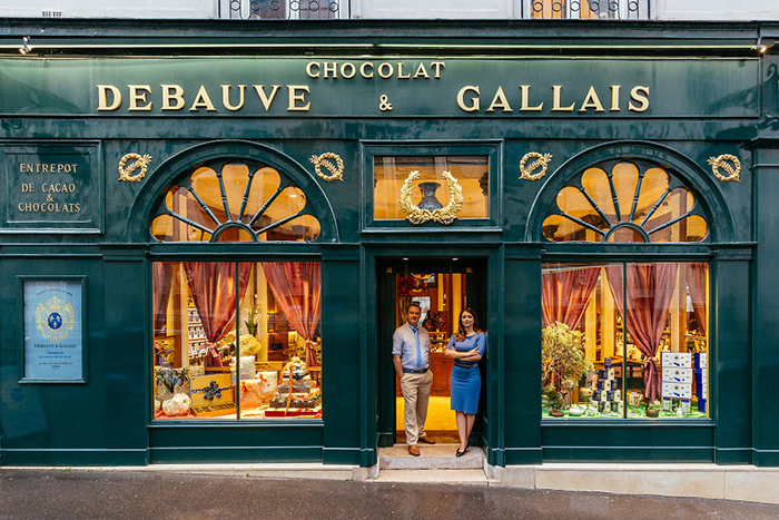 Bernard Poussin and Diane Junique In Front of Debauve & Gallais
