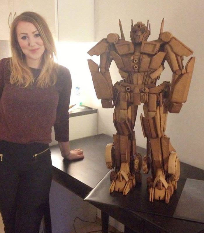 Caroline Eriksson and Her Optimus Prime Gingerbread Sculpture