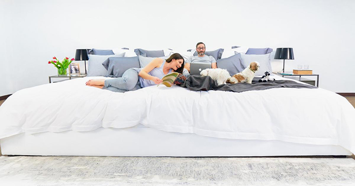 Couple with Dogs on Ace Collection 12-foot Bed