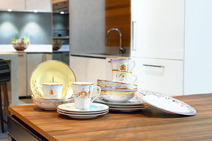 Disney-themed dinnerware set in a kitchen