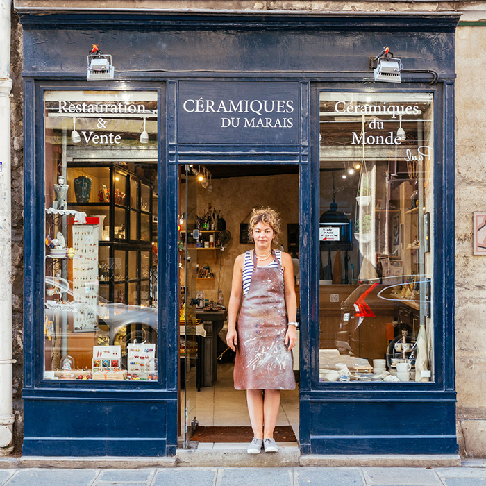 Dorothée Hoffmann In Front of Les Ceramics Du Marais