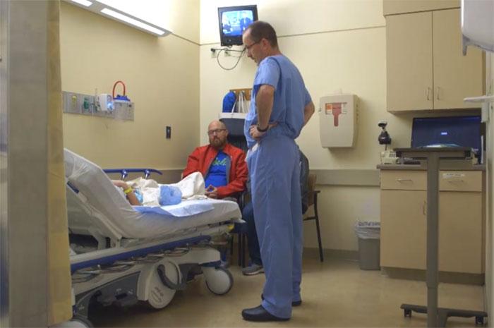 Dr. Robert Parry visits a patient