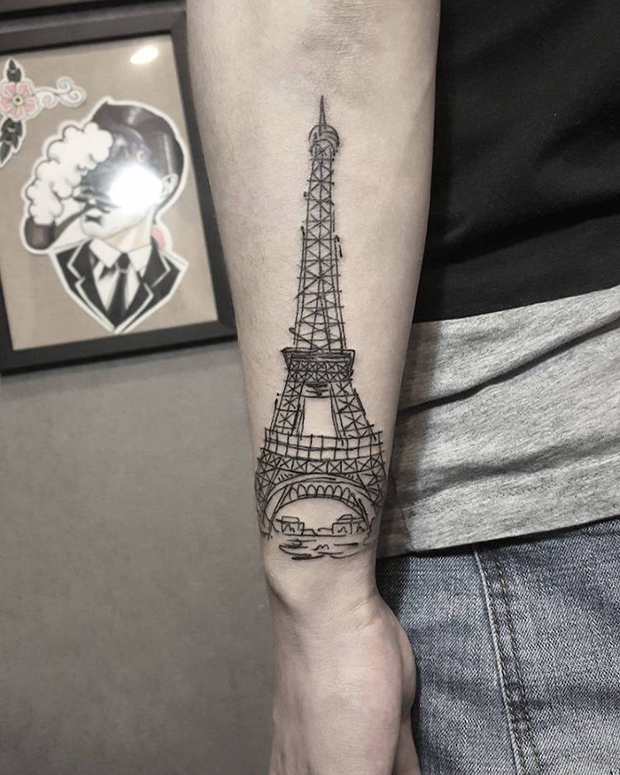 Eiffel Tower Outline Tattoo on Arm