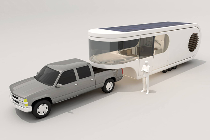 Futuristic Camper Trailer Rounded Concept Photo Roof