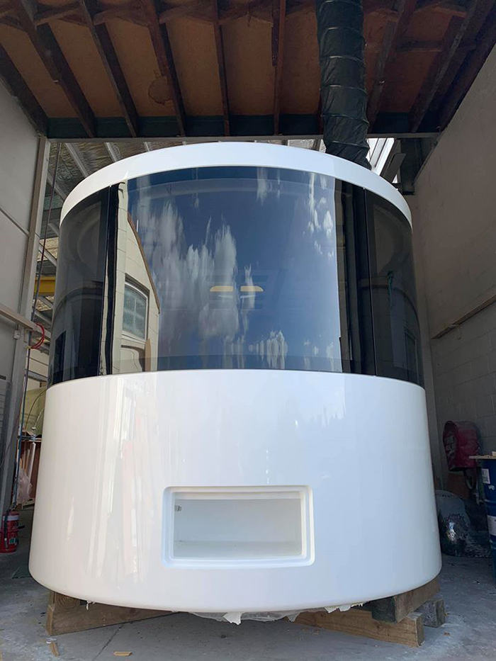 Futuristic Camper Trailer Rounded Full-sided Window