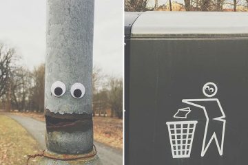 Googly eyes on outdoor objects