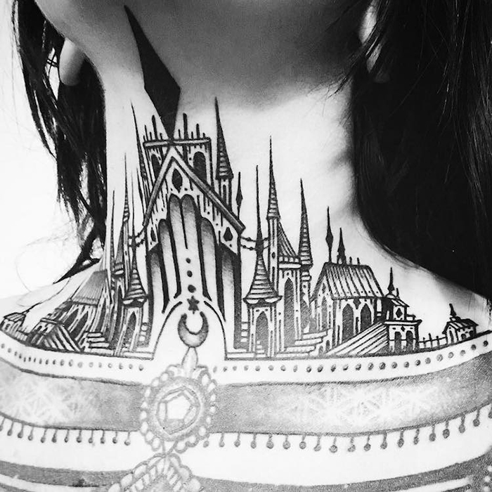 Gothic Architecture Tattoo on Chestjpg