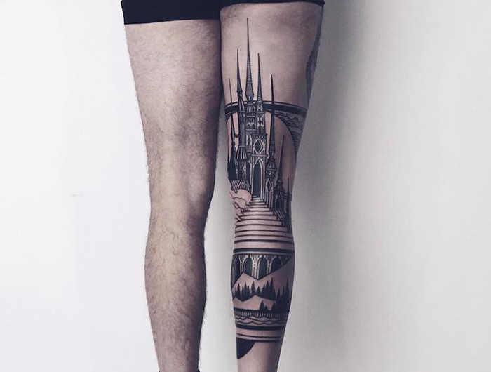 Gothic Architecture Tattoo on Right Leg