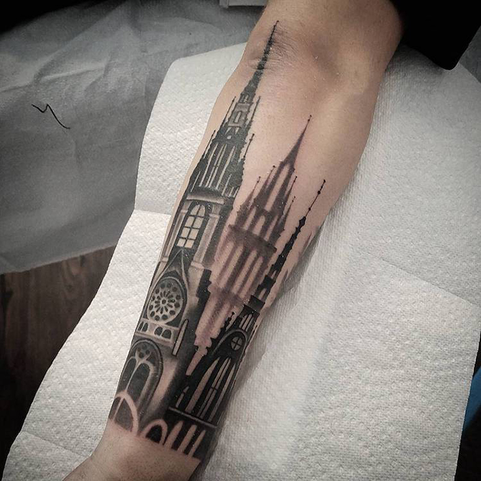 Gothic Cathedral Tattoo on Arm