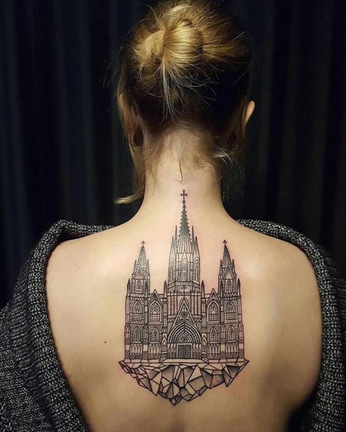 Gothic Cathedral Tattoo on Back