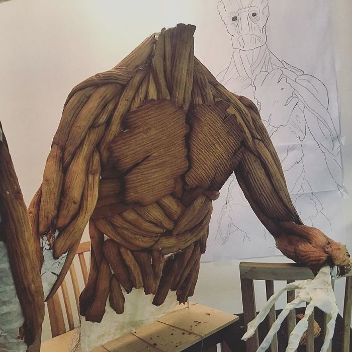 Groot Gingerbread Sculpture Work in Progress Upper Body 2