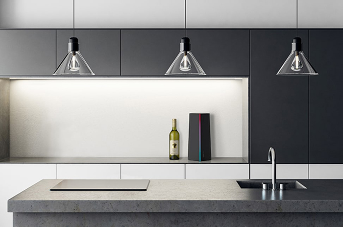 Kitchen Countertop with a Bottle of Wine and a Beverage Cooler