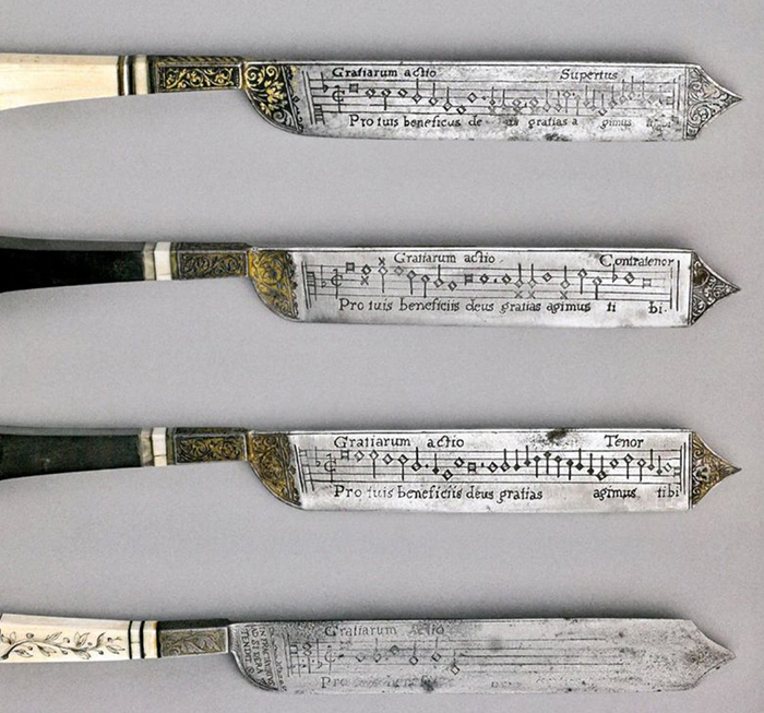 Knives with Engraved Musical Notes
