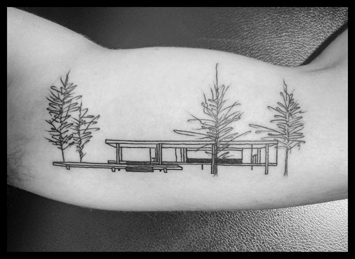 Ludwig Mies van der Rohe's Farnsworth House Tattoo on Arm