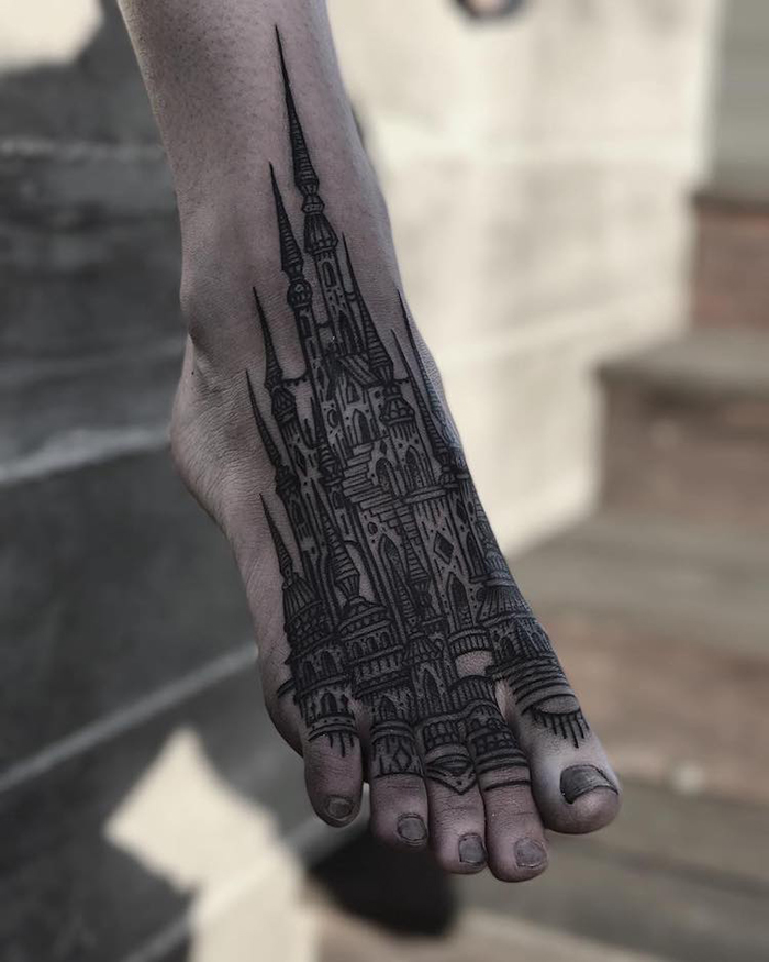 Medieval Architecture Tattoo on Feet