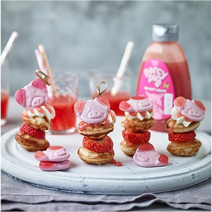 Mini Pancakes Topped with Percy Pig Sauce and Gummy