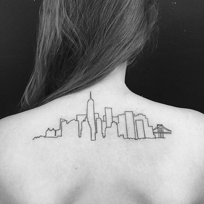 New York Architecture Outline Tattoo on Back