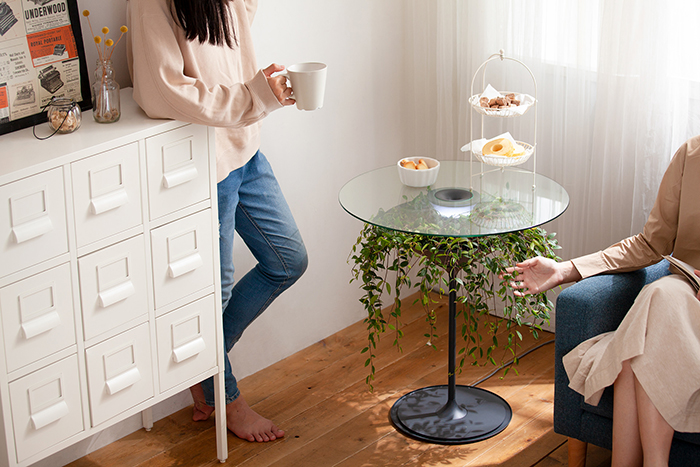 Oasis table with snacks on top