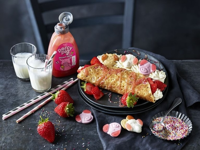 Pancake with Strawberries and Percy Pig Sauce