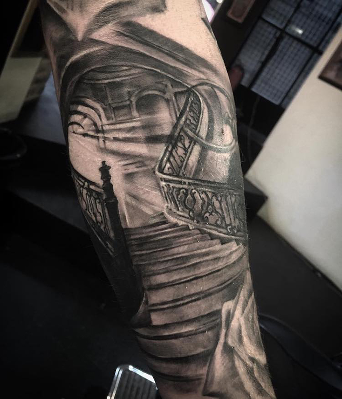 Realistic Stairway Tattoo