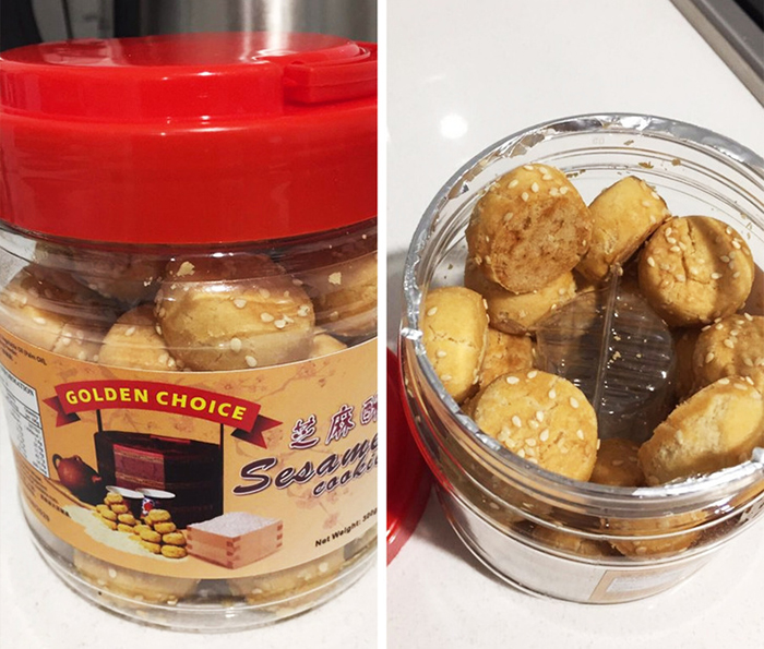 Sesame Cookies Container with Another Container Inside