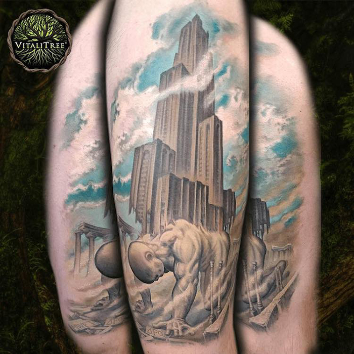 Titan Carrying the Cathedral of Learning Tattoo