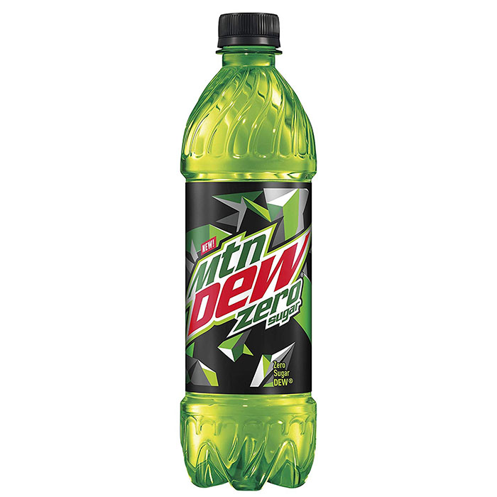a mountain dew zero sugar bottle