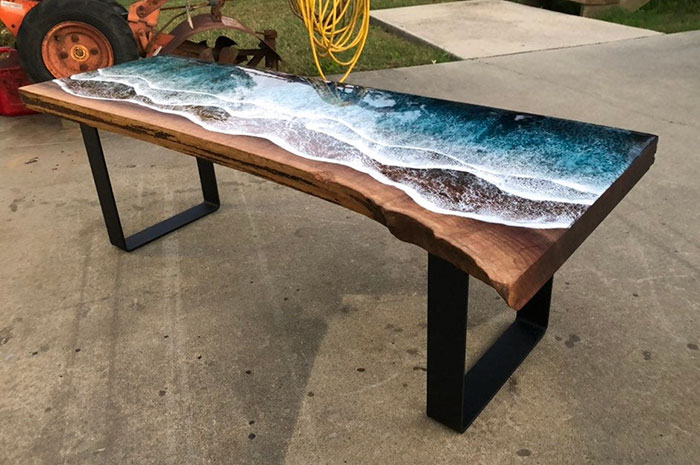 angular shot of the ocean-inspired wooden table