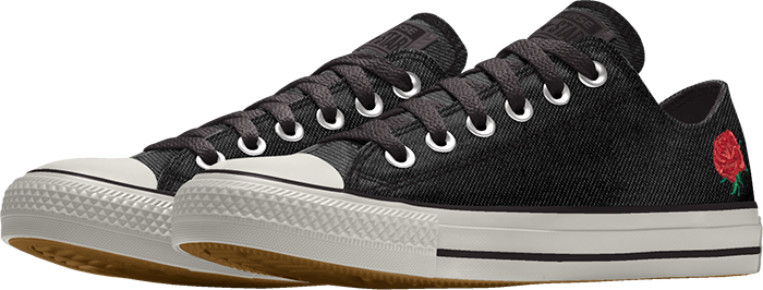 black chuck taylor all-star floral embroidery low top