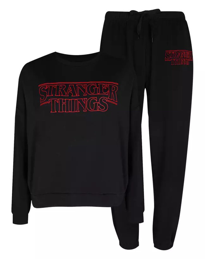 black stranger things sweat shirt and pants