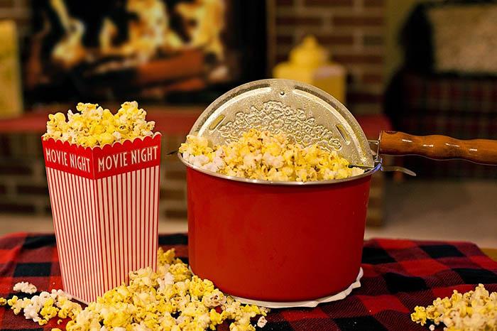 bucket and bag of popcorn