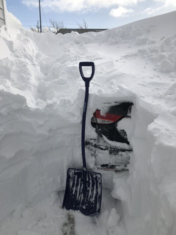 canada blizzard digging up buried car