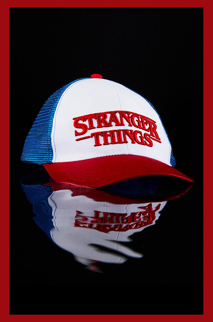 close up of the stranger things trucker cap
