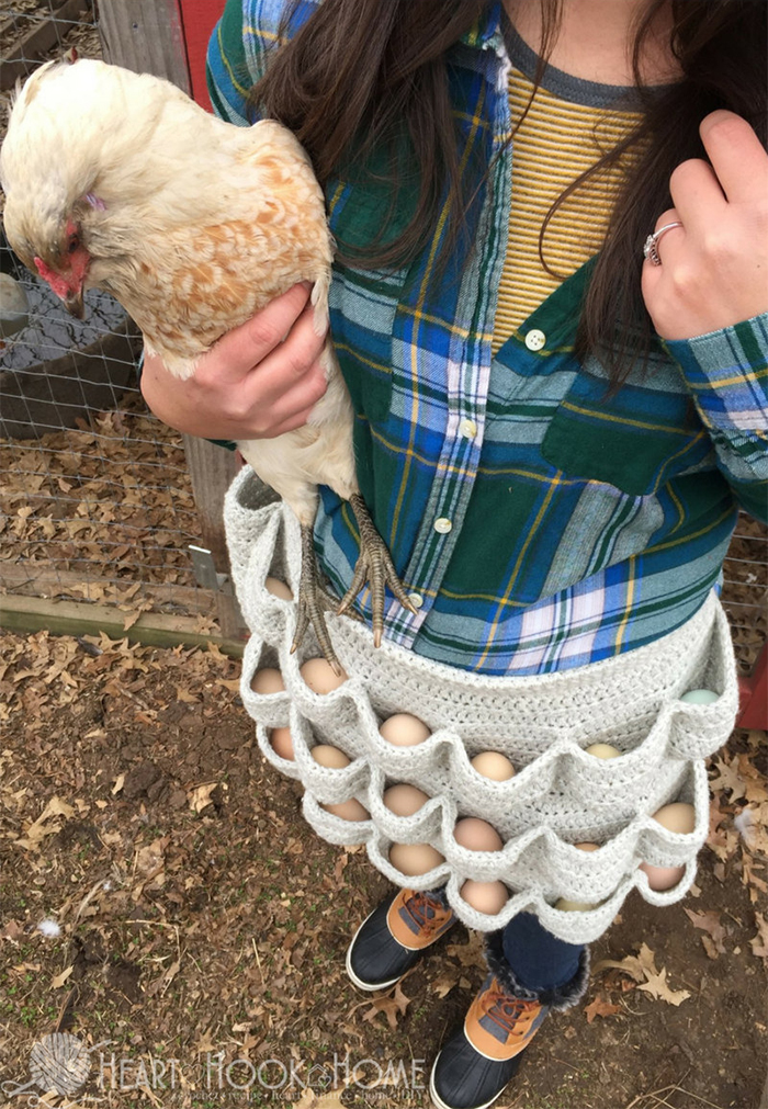 crochet egg apron adult size
