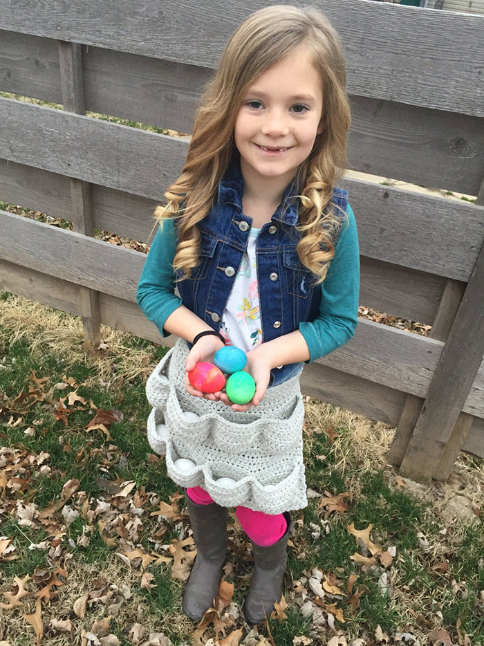 crochet egg apron pattern child size