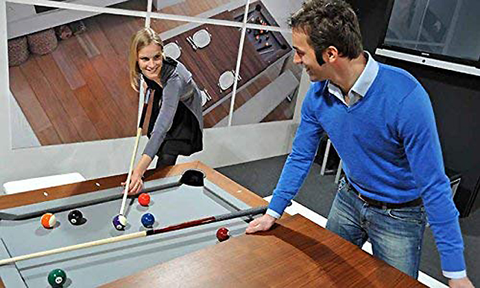 dining table doubles as billiard table