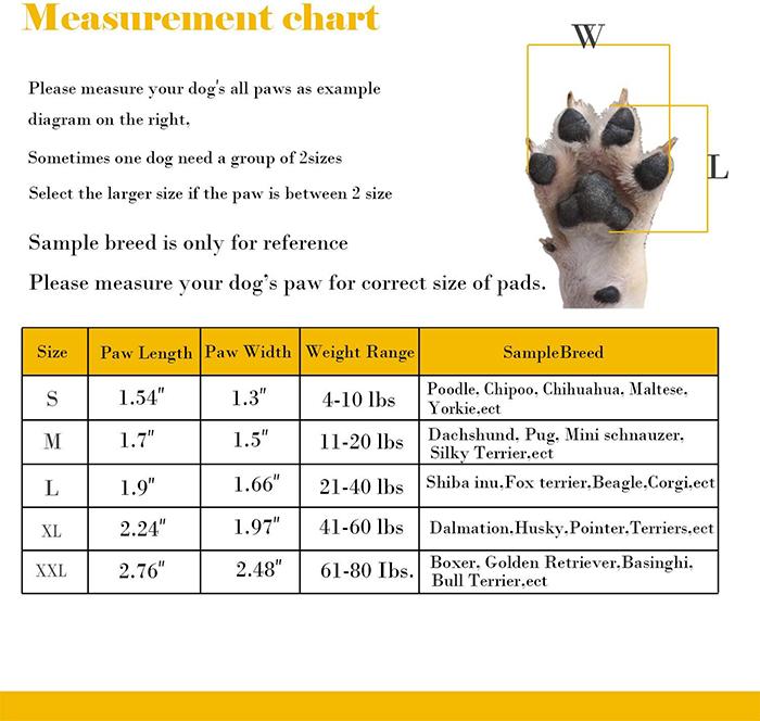 dog pad grips measurement chart