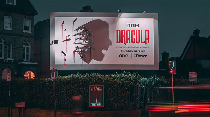 dracula shadow billboard at night