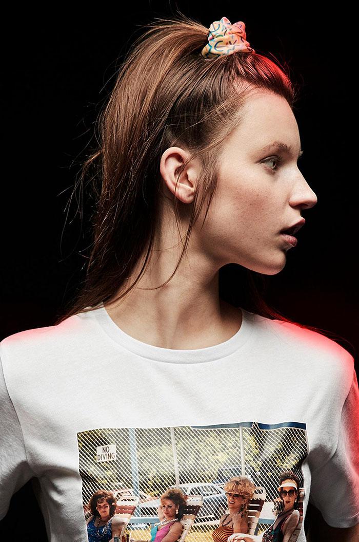 eleven-inspired scrunchie on model