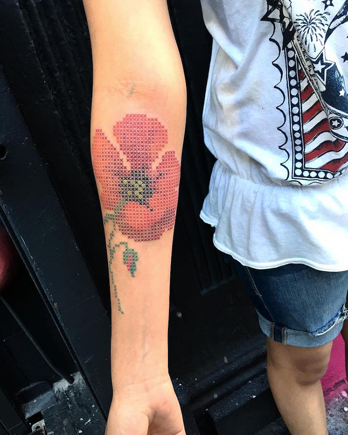 eva krbdk cross stitch floral tattoos