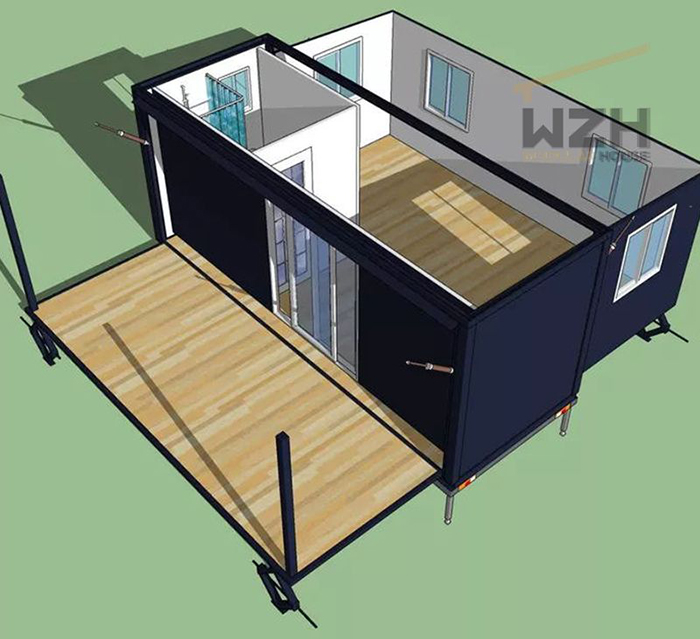 exterior and interior render of the expanding tiny home