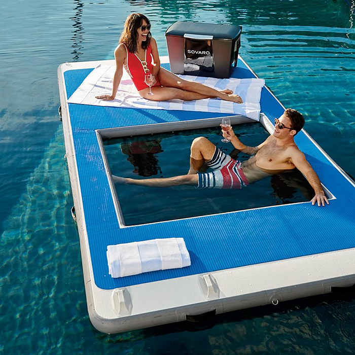 floating island with built-in hammock