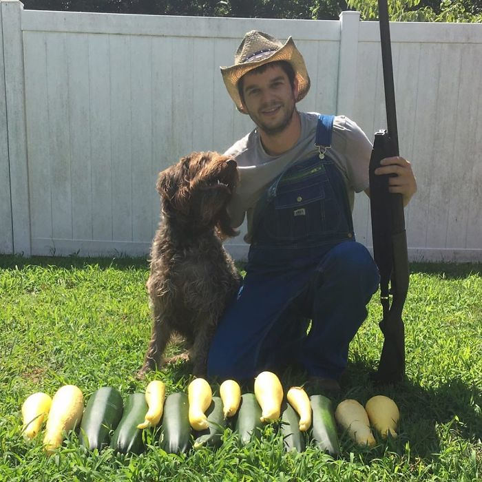 funny vegan hunters carrots with dog