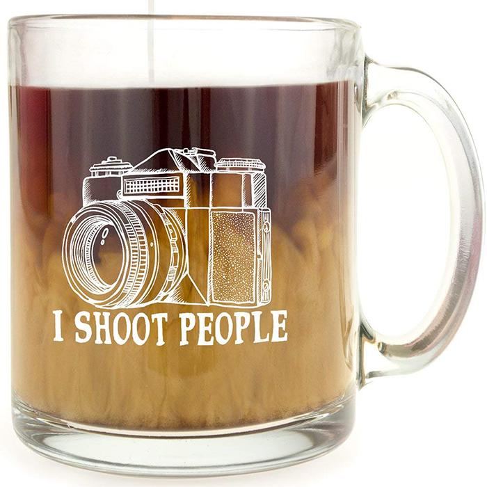 i shoot people glass coffee mug