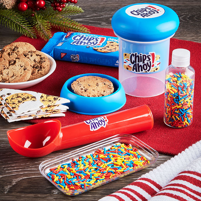 ice cream scoop, sprinkle tray with cookies and sprinkles