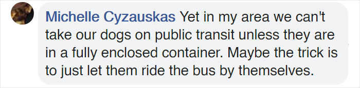 in my area we can't take our dogs on public transit unless they are in a fully enclosed container