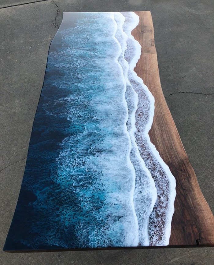 ocean wave resin table lengthwise view