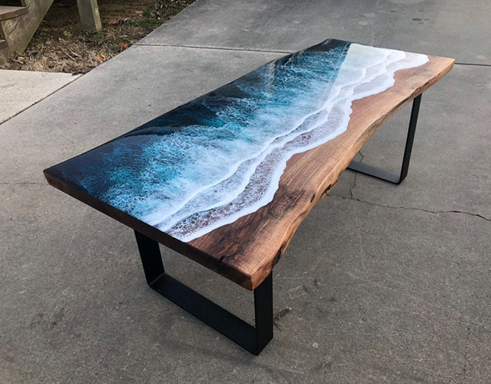 ocean wave resin table