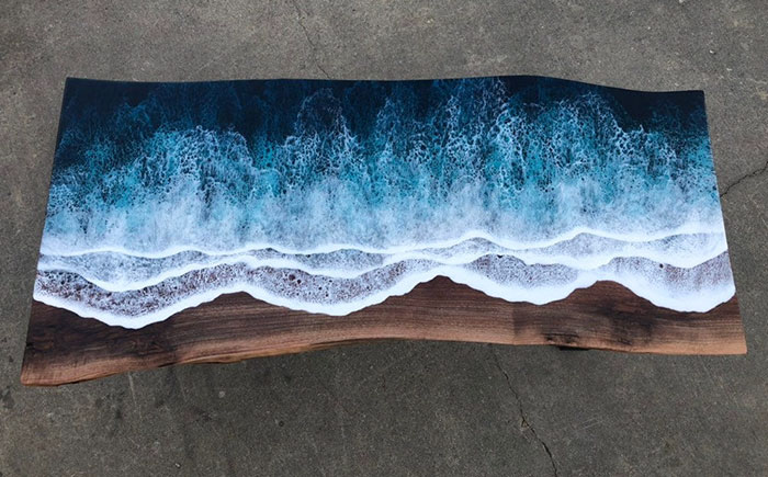 ocean waves resin table birds eyeview